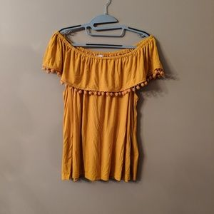 Deep Yellow Off the Shoulder with Pom Poms